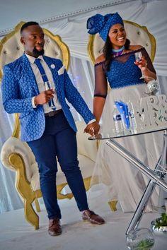 Traditional African Shweshwe Dresses Styles For Women. Shweshwe attires are a cotton indigo Fab South African Dresses, Wedding Dresses South Africa, African Wedding Attire, African Wear Dresses, South African Weddings, African Attire, Seshweshwe Dresses, Bridesmaid Dresses, African Traditional Wedding Dress