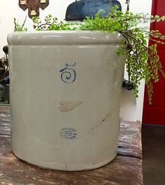"Five Gallon Red Wing Crock   18.5"" High   $38  Vintage Affection Dealer #1680  White Elephant Antiques 1026 N. Riverfront Blvd. Dallas, TX 75207"