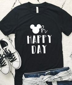 Happy day, t shirt, acid wash shirt, lightweight pullover or Matching Disney Shirts, Disney Tees, Disney Fun, Disney Style, Boy Disney Shirts, Disneyland Shirts, Disneyland Trip, Disney Shirt For Women, Disney World Shirts Family