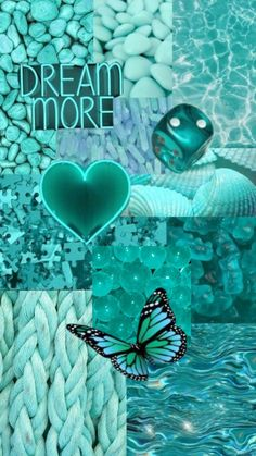 Teal/Cyan Aesthetic Wallpaper Collage - Follow @libbyirenewallpapers For More!