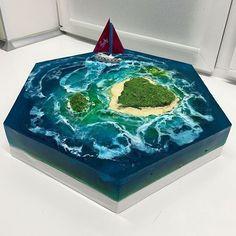 Island Cake, Ocean Cakes, Jello Cake, 3d Art, Gateaux Cake, Mermaid Cakes, Colorful Cakes, Paradise Island, Creative Cakes