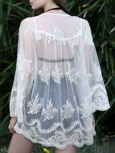 Open Front Crochet Lace Blouse OFF-WHITE: Blouses   ZAFUL