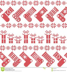 Scandinavian Nordic Christmas pattern with stockings, stars, snowflakes, presents in cross stitch in red n - Shutterstock Cross Stitch Christmas Stockings, Cross Stitch Stocking, Christmas Stocking Pattern, Cross Stitch Heart, Cross Stitch Borders, Christmas Cross, Cross Stitching, Cross Stitch Embroidery, Cross Stitch Patterns