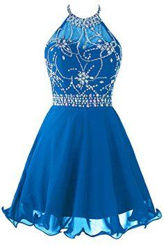 Topdress Women's Short Beaded Prom Dress Halter Homecomin...
