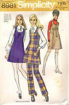 Simplicity 8981 MOD MINI JUMPER Tunic Pants   © by PatternPeddler (Craft Supplies & Tools, Patterns & Tutorials, Sewing & Needlecraft, Sewing, SEWING PATTERN, sleeveless, round neckline, patch pockets, flaps, a line, size 14, bust 36, pull on pants, princess seams, band trim, topstitching, scoop neck)