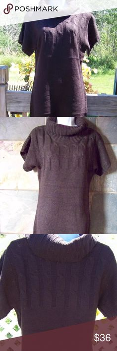 Brown cowl neck sweater knit dress Cute brown sweater dress knit style wear with leggings for a cute tunic look. Fits true to size Dresses