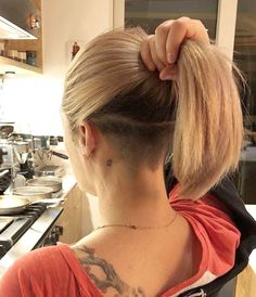 Cute Ponytail For Women Short Hairstyle 02 Undercut Ponytail, Undercut Hairstyles Women, Undercut Long Hair, Undercut Women, Messy Bob Hairstyles, My Hairstyle, Short Hairstyles For Women, Hairstyle Ideas, Bob With Undercut