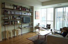 Galvanized book shelf for craft room