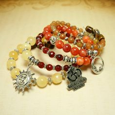 Gemstone Charm Bracelet Aventurine Red Yellow by MayanRoseShop