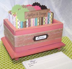 Recipe Box  Recipe Dividers and Cards Burlap by peachykeenday