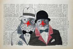 FBI original ARTWORK mixed media illustration painting by artretro, $10.00