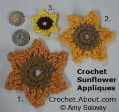 One Dozen Easy Peasy Free Crochet Flower Patterns: Easy Free Crochet Sunflower Applique Pattern
