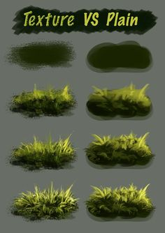 Texture Vs Plain Brush by NThartyFievi. Texture Vs Plain Brush by NThartyFievi. Digital Painting Tutorials, Digital Art Tutorial, Painting Tips, Art Tutorials, Painting & Drawing, Digital Paintings, Painting Grass, Concept Art Tutorial, Matte Painting