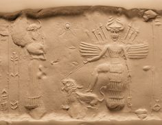 This seal was dedicated to a little-known goddess, Ninishkun, who is shown interceding on the owner's behalf with the great goddess Ishtar. Ishtar places her right foot upon a roaring lion, which she restrains with a leash. The scimitar in her left hand and the weapons sprouting from her winged shoulders indicate her war-like nature.