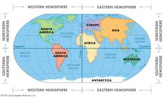 World map with longitude and latitude tropic of cancer and mapstillthe earth is divided into four hemispheres gumiabroncs Choice Image