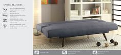 COF550139 MIMINALIST SOFABED IN GREY FLAX FABRIC Mid Century Sofa Bed, Lounge, Couch, River, Grey, Fabric, Furniture, Home Decor, Chair