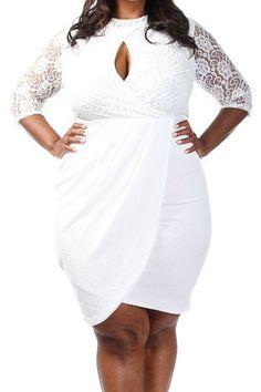 Prix: €16.40 Robes Grande Taille Blanc Dentelle Keyhole Au Drapee Modebuy.com @Modebuy #Modebuy #Grande #style #femme #mode #femmes #sexy #me #gros #Blanc #follow4follow #followalways #followback #cute #Rose