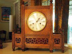 Large German Oriental/Moorish Clock with Latticework and Finials, Classic Clocks, Telling Time, Art Deco Period, Moorish, Oriental, German, Antiques, Artwork, Vintage