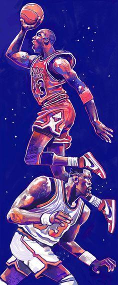"""Michael Jordan Patrick Ewing Jumpman """"Jam"""" 12″x29″ Digital. 2015."""