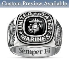 Bold design features USMC logo on black enamel, crossed flags, engraved inner band. Customize with an insignia, initials and year - FREE! Gift box.
