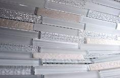 "White Glass and White Stone Backsplash Mosaic Tiles Sheet Size: 12 1/4"" x 12"" x 3/8"" Tile Size: 5/8"" x 3 3/4"" Type: Glass, Stone Finished: Glossy, Matte, Brushed HTCO1"