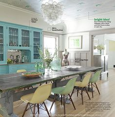 The leaded glass in the turquoise cabinets and the wallpaper on the ceiling help make this a very exciting and personal kitchen.
