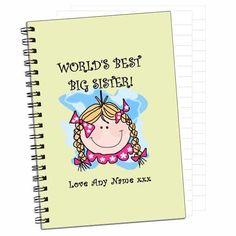 Personalised+Greatest+Sis+Notebook via @giftcart Raksha Bandhan Gifts, Rakhi Gifts, Personalized Notebook, Online Gifts