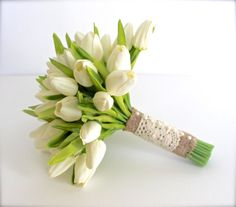 WHITE WEDDING BOUQUET White Tulip Wedding by AdoredOccasions