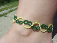 anklet tatted anklet lace anklet green and yellow by MamaTats