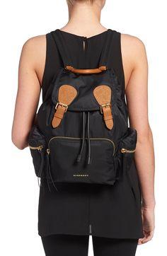 8499b7305c Burberry 'Medium Runway Rucksack' Nylon Backpack Backpack Straps, Leather  Backpack, Soft Leather