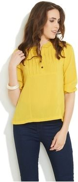 Roposo.com - Latest pintuck band-collar elbow-sleeve casual tunics online april fresh top