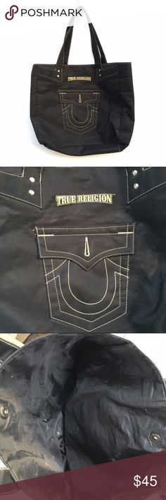 Black True Religion Tote Black True Religion tote bag with pocket like design on front. True Religion Bags Totes