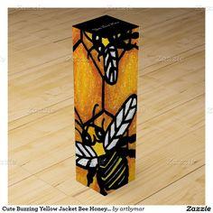 Cute Buzzing Yellow Jacket Bee Honeycomb Wine Bottle Box