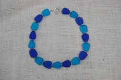 multicolor blue seaglass necklace