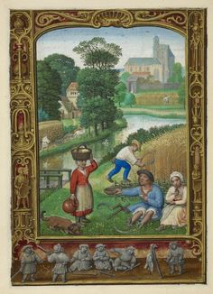 Calendar page for August with a miniature of labourers harvesting grain and resting in the fields, from the Golf Book (Book of Hours, Use of Rome), workshop of Simon Bening, Netherlands (Bruges), c. 1540, Additional MS 24098, f. 25v