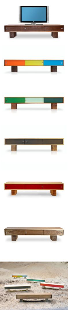 Low flung media console with three sliding doors. Sitting on scaled down beam legs, the Pawnee is perfect for media devices, such as TVs, turntables, speakers, etc. This console helps to hide the clutter that comes with these electronic devices. The Pawnee is offered a variety of wood and paint schemes.