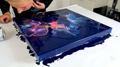 A Milky Way Galaxy Acrylic Pour Painting. It turned out stunning! I used 3 puddles, all with different colors and a little line in between, so the design will touch. The base color is a prussian blue, and that acrylic color is perfect with vibrant colors on top. #acrylicpainting #fluidart #rinskedouna #acrylicpouring Galaxy Painting Acrylic, Acrylic Pouring Art, Acrylic Art, Diy Painting, Pour Painting, Canvas Painting Tutorials, Painting Videos, Painting Techniques, Simple Canvas Paintings