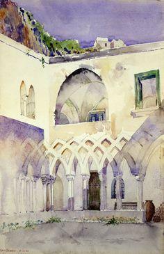 """""""Courtyard, Capucine Monastery, Amalfi"""", 1898, Cass Gilbert , Smithsonian American"""