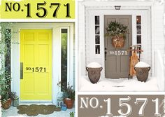 Personalized Address Vinyl - 50 Percent of Proceeds Go Towards a Good Cause! Yellow Doors, Grey Doors, Front Door Landscaping, Home Decor Inspiration, Decor Ideas, Craft Ideas, She's Leaving Home, Tranquil Bedroom, Sweet Home Alabama