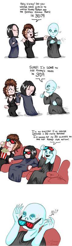 Voldemort, Snape and Bellatrix --- I sure love me some Harry Potter jokes :) Mundo Harry Potter, Harry Potter Puns, Theme Harry Potter, Harry Potter Universal, Harry Potter World, Harry Potter Nails, Memes Humor, Funny Memes, Hilarious