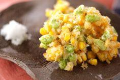 旬の枝豆とトウモロコシの甘みが引き立っています。枝豆とコーンの落とし揚げ[洋食/揚げもの]2008.08.18公開のレシピです。