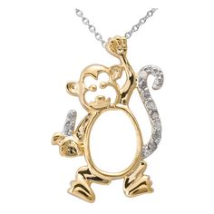 Two-tone Silver 1/10ct TDW Diamond Monkey Critter Necklace ($32) ❤ liked on Polyvore featuring jewelry, necklaces, silver jewelry, monkey necklace, two tone pendant necklace, silver diamond necklace and silver necklace