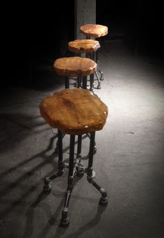 Custom furniture made from reclaimed wood and fallen trees. Live edge.   {Cross Plunge Bar Stool}