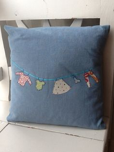 Linen appliqué washing line cushion