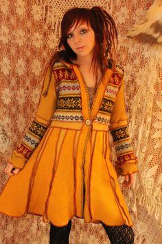Norwegian pachworked wool jacket mustard ochre yellow red gypsy pixie cute coat…
