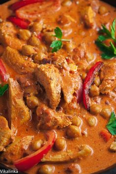 Easy Chicken and Chickpea Paprikash This simplified version of chicken paprikash is made leaner by using chicken breasts and chickpeas so you can enjoy the creamy goodness without the guilt! Chicken And Chick Pea Recipe, Best Chicken Recipes, Chickpea Recipes, Healthy Recipes, Savoury Recipes, Top Recipes, Amazing Recipes, Delicious Recipes, Chicken Chickpea