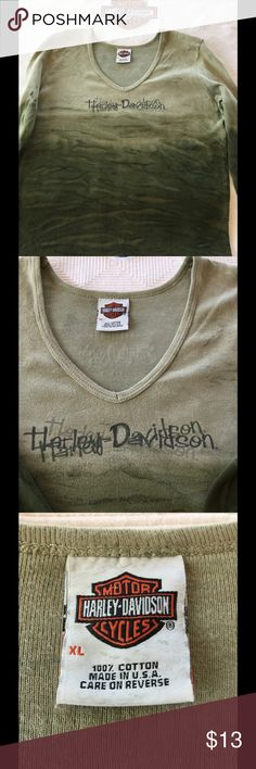 Harley Davidson long sleeve Greenish ombré Harley long sleeve Tee. Great condition, that's not a spot in pic #4 it's a water mark from pressing it. No stains, spots, rips , holes, tears or smells, back Lisle IL Harley-Davidson Tops Tees - Long Sleeve