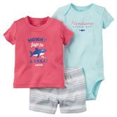 Complete with fun screen prints and coordinating shorts, this soft 3-piece set is handsome for your little guy.