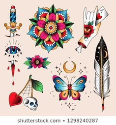 vintage tattoo Set of color tattoos at traditional vintage style. Flash Art Tattoos, Retro Tattoos, Vintage Style Tattoos, Vintage Tattoo Art, Vintage Tattoo Design, Style Vintage, Traditional Tattoo Images, Traditional Tattoo Flowers, Traditional Tattoo Old School