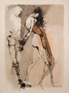 Leonor Fini(Argentine, Bondage 1980 Lithograph in colour Figure Painting, Figure Drawing, Painting & Drawing, Watercolor Paintings, Watercolors, Art Inspo, Art Blanc, Grafik Art, Art Et Illustration